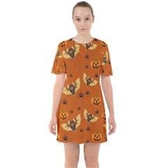 Bat, Pumpkin And Spider Pattern Mini Dress