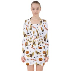 Bat, Pumpkin And Spider Pattern V Neck Bodycon Long Sleeve Dress