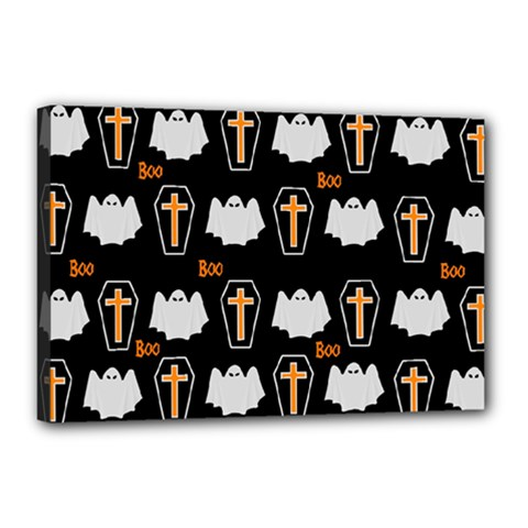 Ghost And Chest Halloween Pattern Canvas 18  X 12