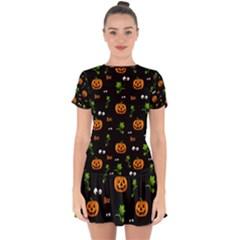 Pumpkins   Halloween Pattern Drop Hem Mini Chiffon Dress