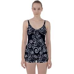 Abstract Spiral Christmas Tree Tie Front Two Piece Tankini