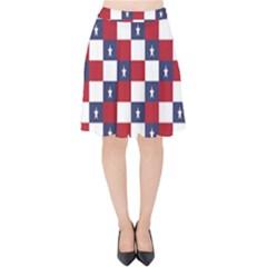 American Flag Star White Red Blue Velvet High Waist Skirt