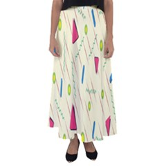 Background  With Lines Triangles Flared Maxi Skirt