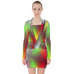 Abstract Rainbow Pattern Colorful Stars Space V Neck Bodycon Long Sleeve Dress