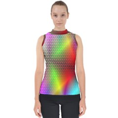 Abstract Rainbow Pattern Colorful Stars Space Shell Top