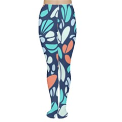 Blue Tossed Flower Floral Women s Tights