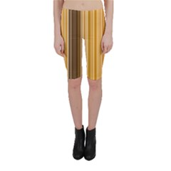 Brown Verticals Lines Stripes Colorful Cropped Leggings