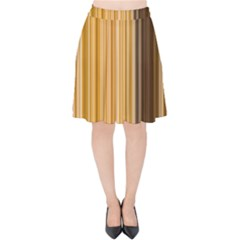 Brown Verticals Lines Stripes Colorful Velvet High Waist Skirt