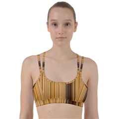Brown Verticals Lines Stripes Colorful Line Them Up Sports Bra