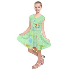 Light Green Dinosaurs Kids  Short Sleeve Dress