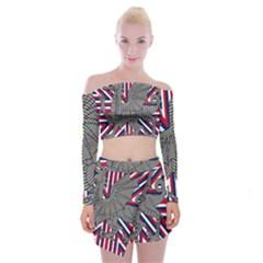 Alternatively Mega British America Dragon Illustration Off Shoulder Top With Skirt Set