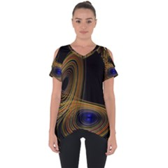 Wondrous Trajectorie Illustrated Line Light Black Cut Out Side Drop Tee