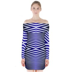 Blue Lines Iterative Art Wave Chevron Long Sleeve Off Shoulder Dress