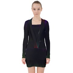 Colorful Light Ray Border Animation Loop Rainbow Motion Background Space V Neck Bodycon Long Sleeve Dress