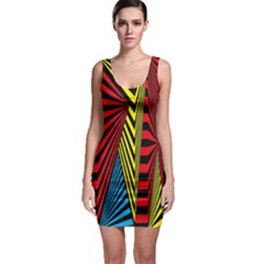 Door Pattern Line Abstract Illustration Waves Wave Chevron Red Blue Yellow Black Bodycon Dress
