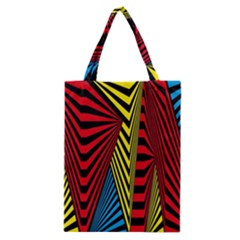 Door Pattern Line Abstract Illustration Waves Wave Chevron Red Blue Yellow Black Classic Tote Bag