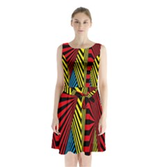 Door Pattern Line Abstract Illustration Waves Wave Chevron Red Blue Yellow Black Sleeveless Waist Tie Chiffon Dress