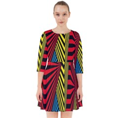 Door Pattern Line Abstract Illustration Waves Wave Chevron Red Blue Yellow Black Smock Dress