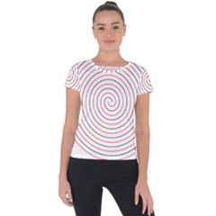 Double Line Spiral Spines Red Black Circle Short Sleeve Sports Top