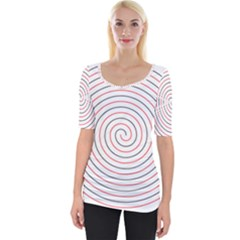 Double Line Spiral Spines Red Black Circle Wide Neckline Tee