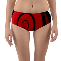 Double Spiral Thick Lines Black Red Reversible Mid Waist Bikini Bottoms