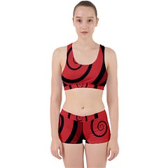 Double Spiral Thick Lines Black Red Work It Out Sports Bra Set