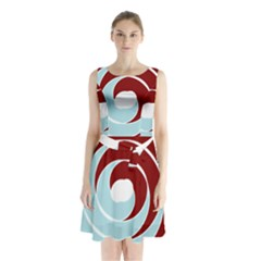 Double Spiral Thick Lines Blue Red Sleeveless Waist Tie Chiffon Dress