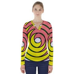 Double Spiral Thick Lines Circle V Neck Long Sleeve Top