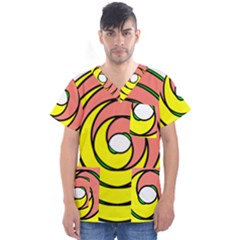 Double Spiral Thick Lines Circle Men s V Neck Scrub Top