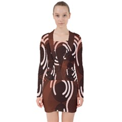 Fan Line Chevron Wave Brown V Neck Bodycon Long Sleeve Dress