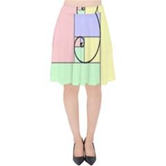Golden Spiral Logarithmic Color Velvet High Waist Skirt