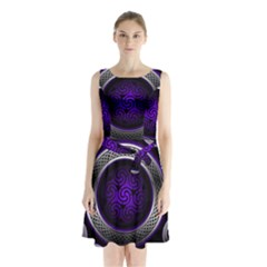 Digital Celtic Clock Template Time Number Purple Sleeveless Waist Tie Chiffon Dress