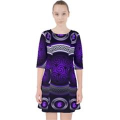 Digital Celtic Clock Template Time Number Purple Pocket Dress
