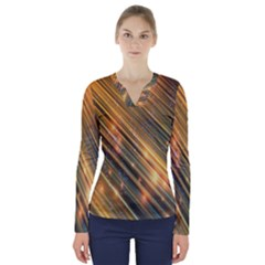 Golden Blue Lines Sparkling Wild Animation Background Space V Neck Long Sleeve Top