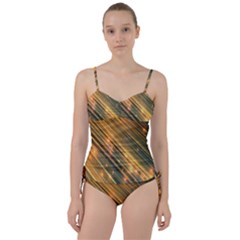 Golden Blue Lines Sparkling Wild Animation Background Space Sweetheart Tankini Set