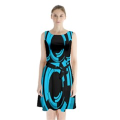 Graphics Abstract Motion Background Eybis Foxe Sleeveless Waist Tie Chiffon Dress