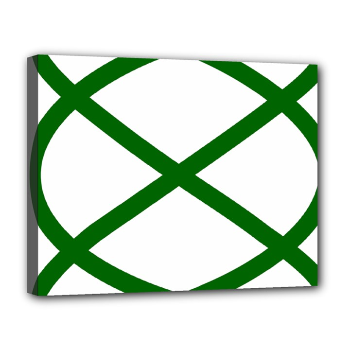 Lissajous Small Green Line Canvas 14  x 11