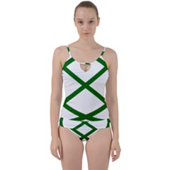 Lissajous Small Green Line Cut Out Top Tankini Set