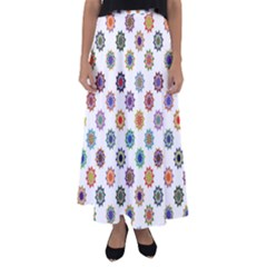 Flowers Pattern Recolor Artwork Sunflower Rainbow Beauty Flared Maxi Skirt
