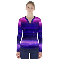 Massive Flare Lines Horizon Glow Particles Animation Background Space V Neck Long Sleeve Top