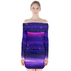 Massive Flare Lines Horizon Glow Particles Animation Background Space Long Sleeve Off Shoulder Dress