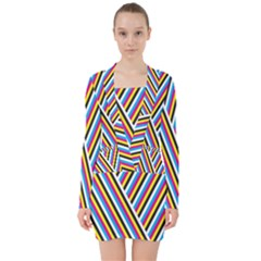 Lines Chevron Yellow Pink Blue Black White Cute V Neck Bodycon Long Sleeve Dress