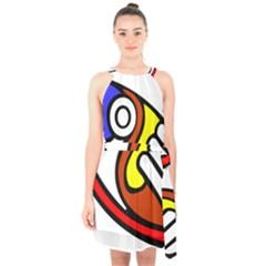 Pedernal Art Circle Sign Halter Collar Waist Tie Chiffon Dress