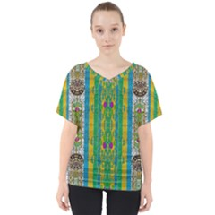 Rainbows Rain In The Golden Mangrove Forest V Neck Dolman Drape Top