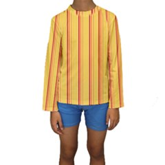 Red Orange Lines Back Yellow Kids  Long Sleeve Swimwear