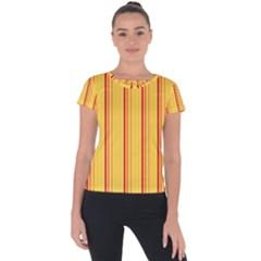 Red Orange Lines Back Yellow Short Sleeve Sports Top