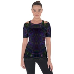 Psychic Color Circle Abstract Dark Rainbow Pattern Wallpaper Short Sleeve Top