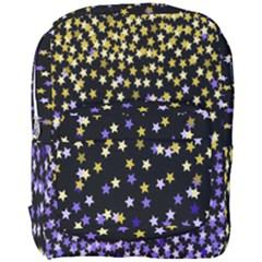 Space Star Light Gold Blue Beauty Black Full Print Backpack