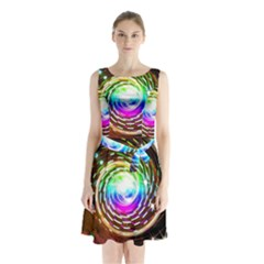 Space Star Planet Light Galaxy Moon Sleeveless Waist Tie Chiffon Dress