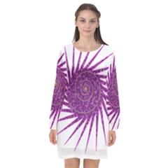 Spiral Purple Star Polka Long Sleeve Chiffon Shift Dress